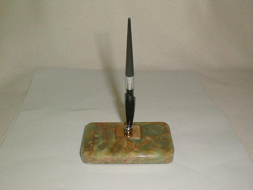 Pen fountain pen desk holder marble base  green marbleized