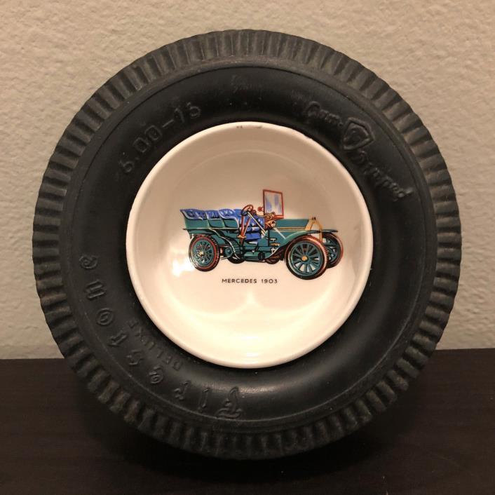 Vintage Firestone Deluxe Rubber Tyre Tire Mercedes 1903 Ceramic Ashtray Ash Tray