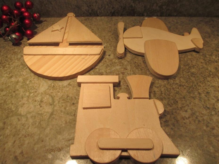 Set 3 Provo Craft 6 X 6 Multi-Dimensional Layered Airplane, Boat, Train to paint