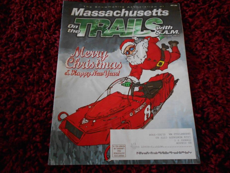 2012 Massachusetts SNOWMOBILE MAGAZINE Vintage Scorpion Sno Pro Groomers Santa