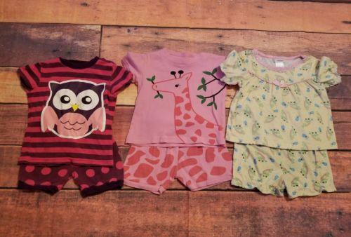 18-24 months Girl Pajamas PJs 3 Pair 6pcs Short Sleeve Top w/ Matching Shorts