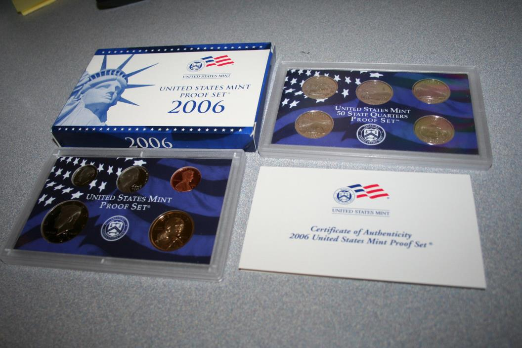 2006,US Coin Proof Set,Dollar,Kennedy Half,State Quarters,10 Coin,Free Ship,6767