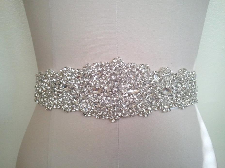 US SHIPPING = Wedding Bridal Sash Belt, Crystal Wedding Dress Sash Belt