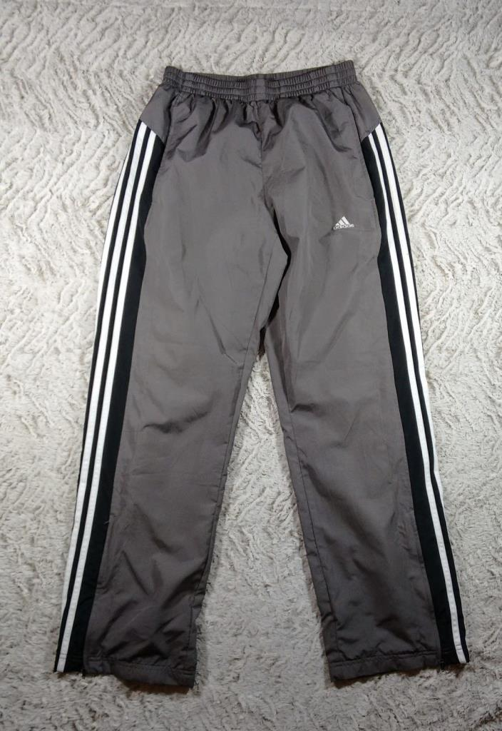 ADIDAS Gray Black White Stripes Mesh Lined Athletic Track Pants, Sz Unisex Small