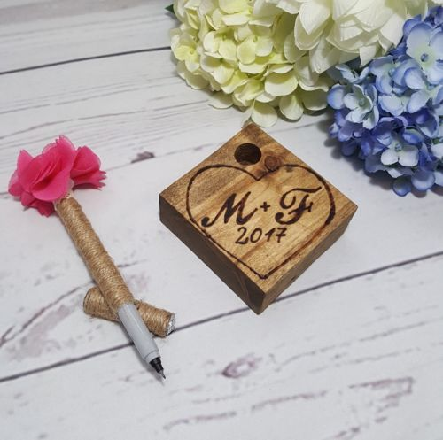Rustic Guest Book Pen Holder and Pen Pen Holder with initials Wedding Decoration