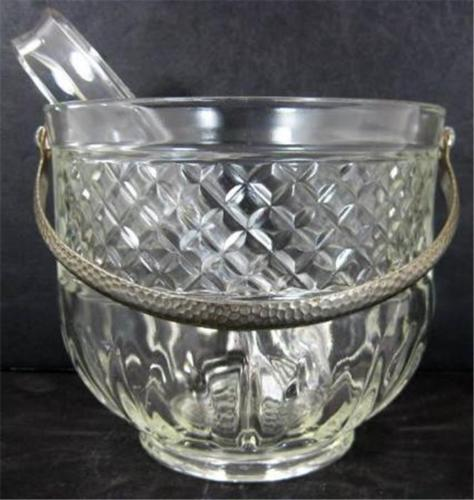 Glass Ice Bucket Waffle Pressed Hammered Aluminum Handle Plastic Tongs