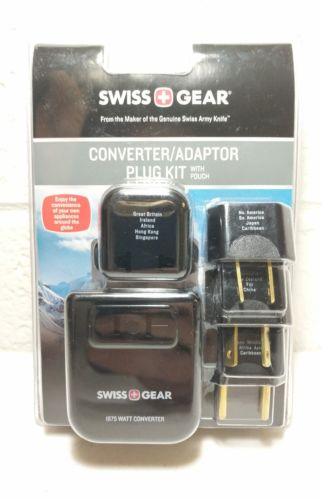 Swiss Gear 1875 Watt Travel Converter Adapter Plug Kit with Pouch. Global Travel