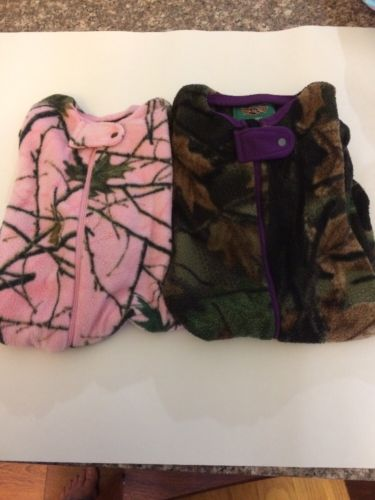 Lot Of 2 Trailscrest Camo Footed Sleepers 12months Pink Purple Girls EUC