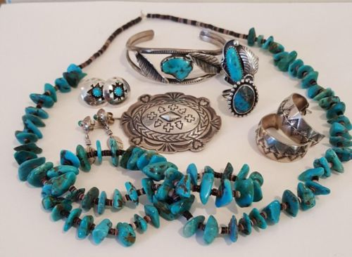 Native American, Southwestern Sterling Silver Jewelry Lot, Turquoise, Heishi