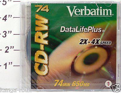2 PKG Verbatim DataLifePlus 650MB 2X-4X Rewritable Disc CD-RW 74 SEALED