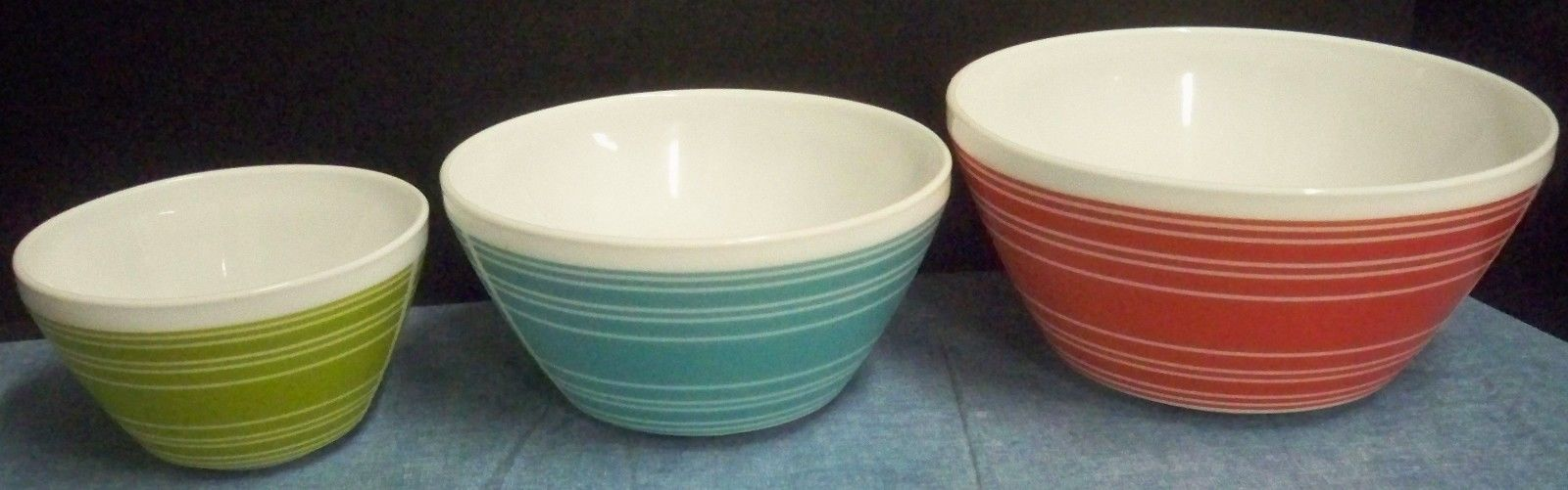 Set of 3 Vintage Charm Inspired by Pyrex Mixing Bowls Red Turquoise Green Stripe