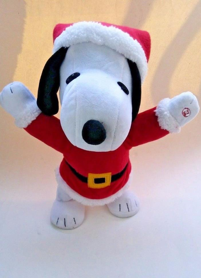 Snoopy Santa Musical Dancing Plush Doll 12' White Red Christmas Decoration