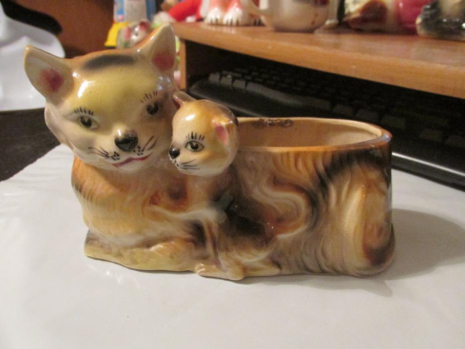 Vintage  Japan Porcelain Cutie CAT & KITTEN PLANTER