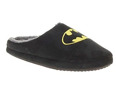 Batman DC Comics Men's Black Slip-on Logo Scuff Slippers: M (9-10) NWOT