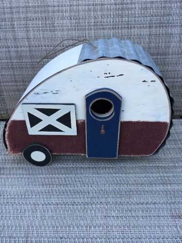 Retro Rustic Camper Trailer Striped Wooden Bird House with Metal Roof RV Camping