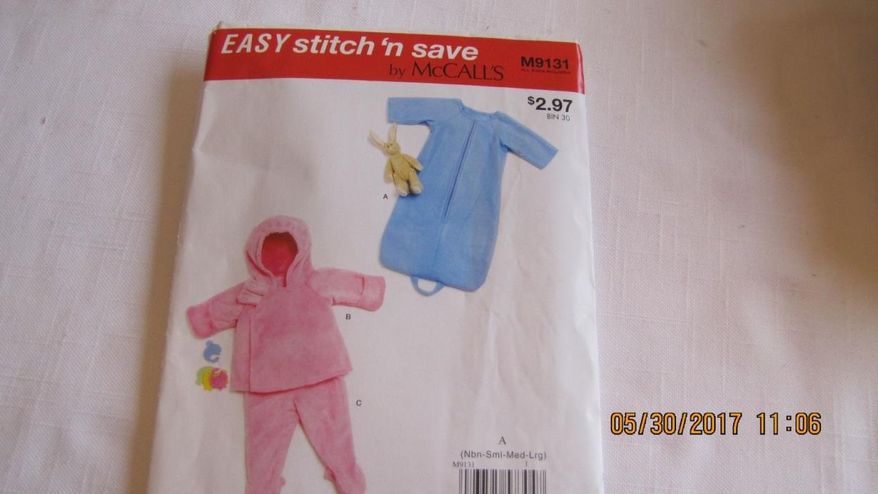 McCall's Pattern M9131 - Infants Lined Bunting and Jacket, Pants