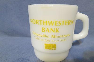 Vint. Anchor Hocking Milk Glass Mug Adv.