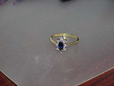 10K .50ct Marquise Blue Sapphire Ring Sz 6.75 Yellow Gold 2 Diamond Cocktail