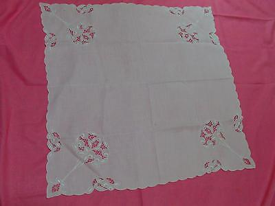 Antique White Linen Embroidered Battenberg Lace Cutwork Tablecloth Table Topper