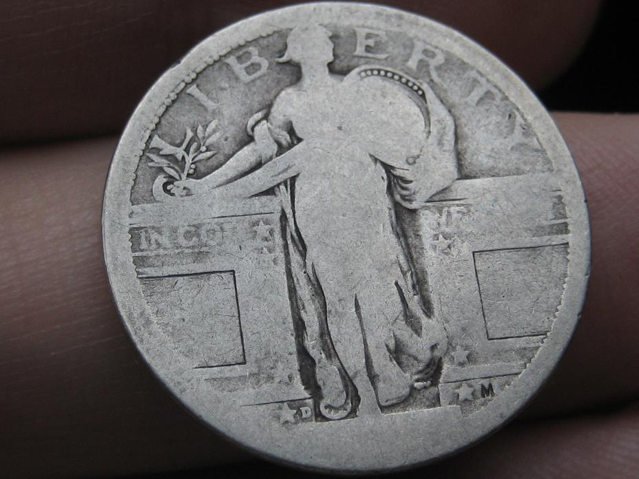 1917-D Silver Standing Liberty Quarter, Type 1, Rare