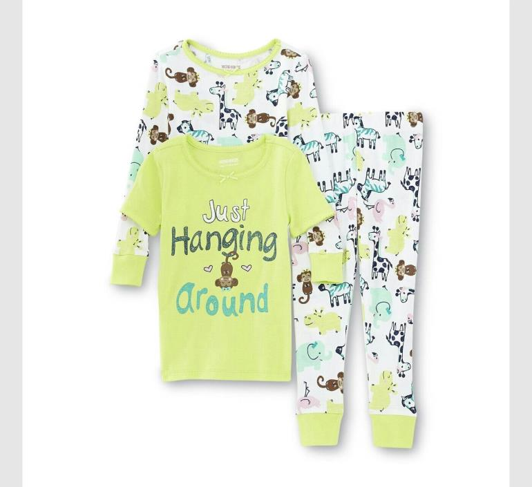 WonderKids Infant & Toddler Girl's Graphic Zoo Animals Pajama 2 Tops & Pants 5T