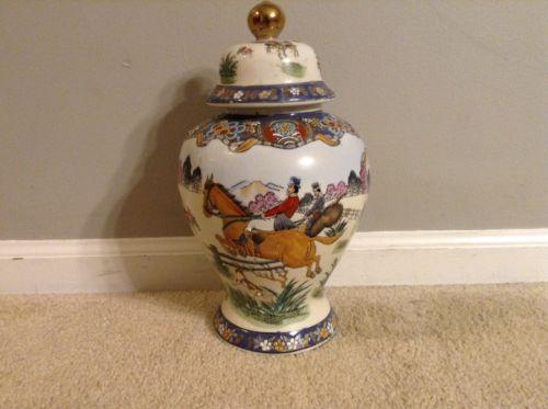 Vintage Ginger Jar Fox Hunt Design