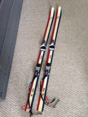 Vintage K2 USA JTwo Skis in Red, White, & Blue w/ Binidngs