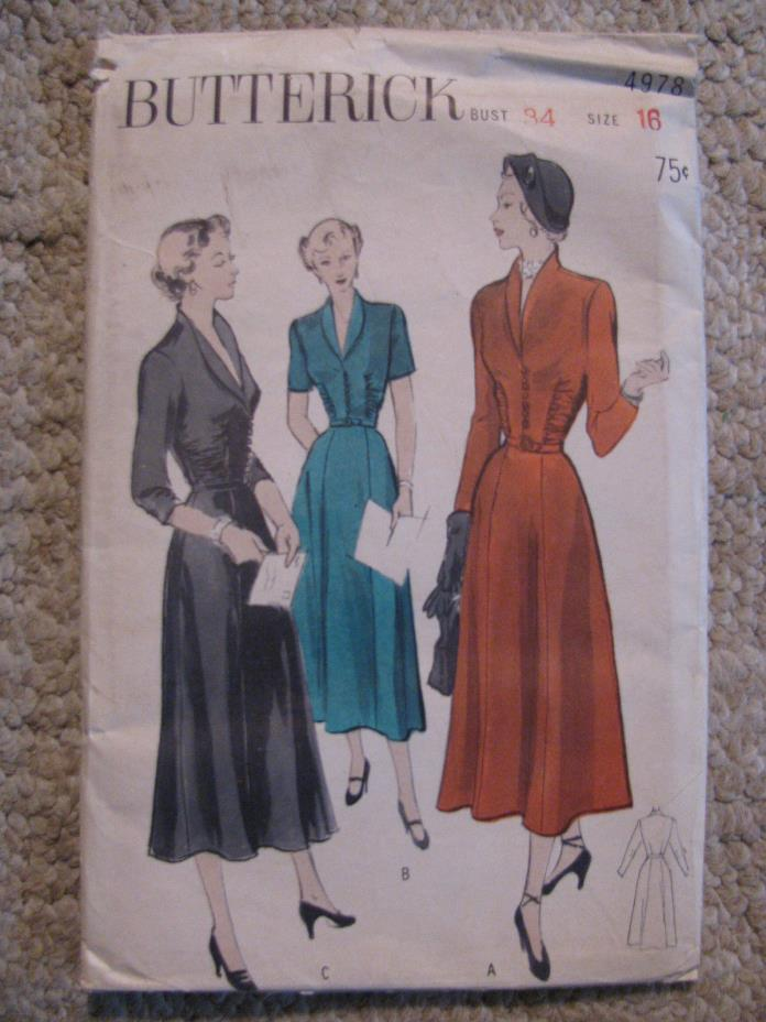 1940's Women's dress with plunging neckline-Butterick Pattern #4978-sz16/34