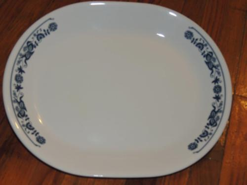 CORELLE OLD TOWN BLUE ONION OVAL SERVING PLATTER DISH 12