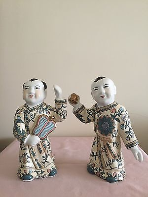 Vintage CHINESE TWIN BOY MALE MAN FIGURINE STATUES
