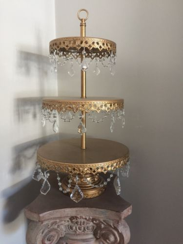 Opulent Treasures 3 Tiered Gold Cupcake Stand / Dessert Stand (Used)