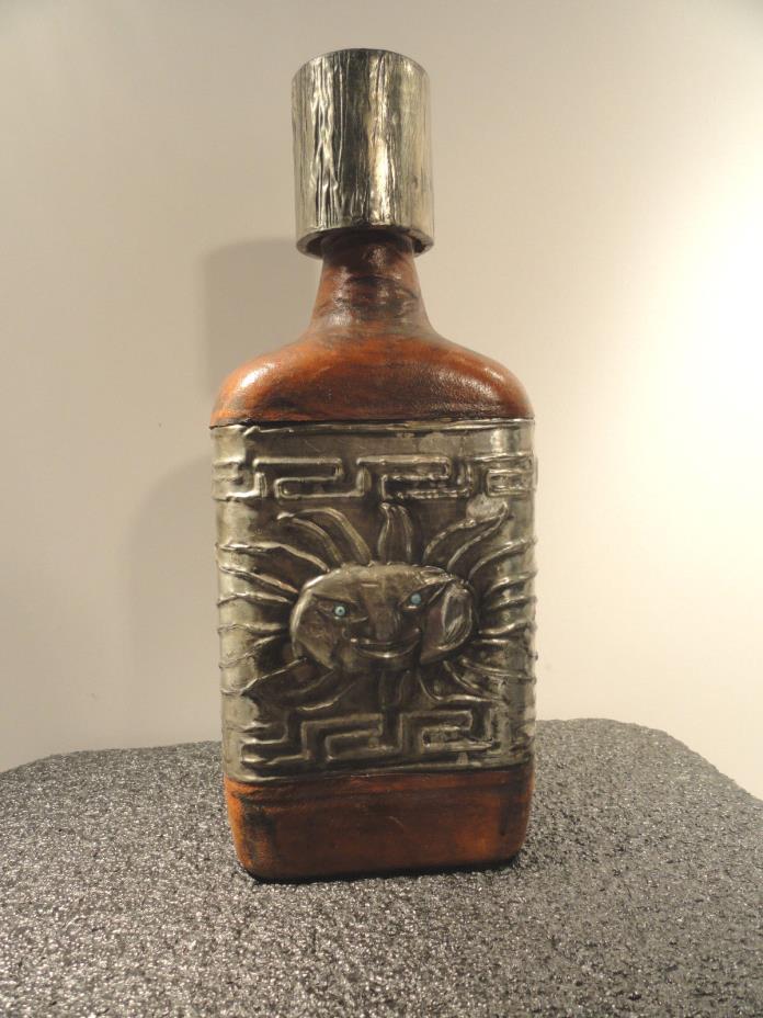 Vintage Spanish Bottle Leather Bound