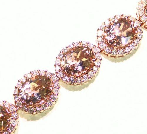 29.20CT 14K Gold Natural Morganite White Cut Diamond Engagement Tennis Bracelet
