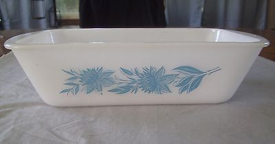 VINTAGE GLASBAKE TURQUOISE BLUE FLOWER PATTERN LOAF PAN