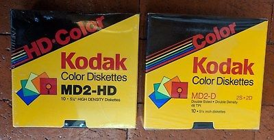 TWO BRAND NEW SEALED PACKS OF KODAK COLOR DISKETTES: ONE MD2-HD & ONE MD2-D