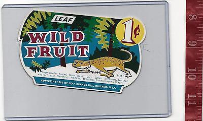 Vintage 1963 vending machine display 1c Leaf Wild Fruit Gum card FREE SHIPPING