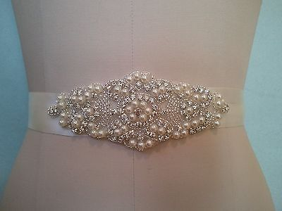 Wedding Bridal Sash Belt, Crystal Pearl Wedding Dress Sash Belt = 5 1/2