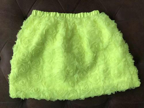 NWT Cat and Jack Neon Green Skirt Size Large 10-12  Rosettes Target brand
