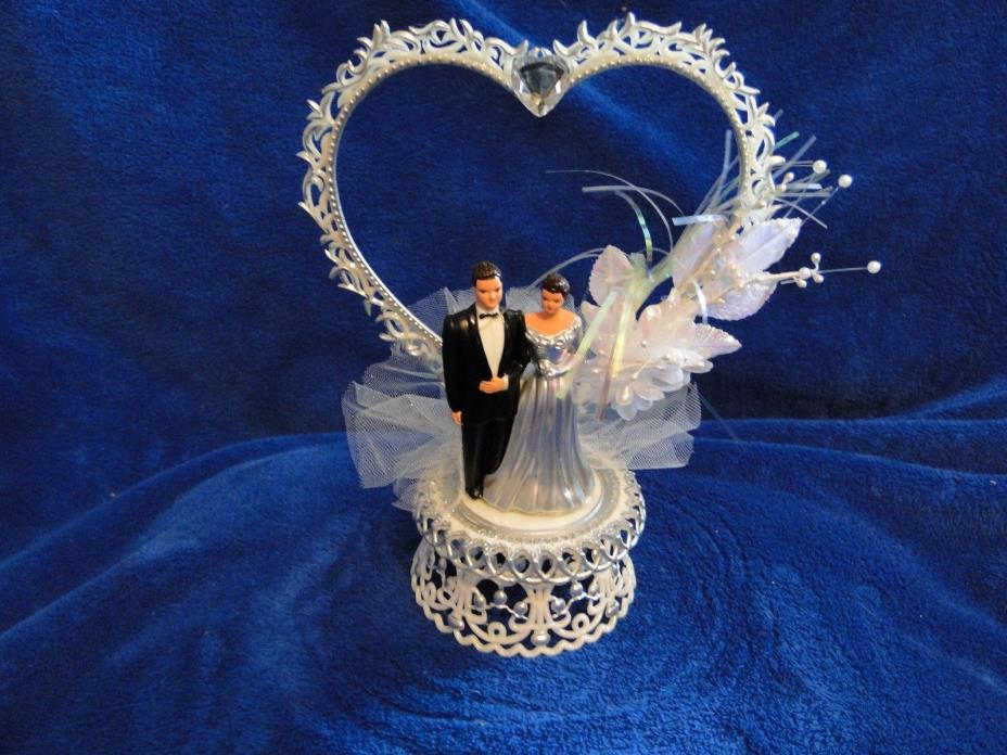 New 25th Wedding Anniversary Heart decor caketopper with Bride & Groom in Silver