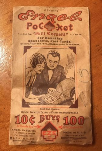 Vintage Engel Pocket Art Corners for Mounting Photos Scrapbook Postcards
