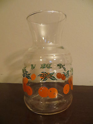 Vintage Orange Juice Pitcher Glass with Orange & Green