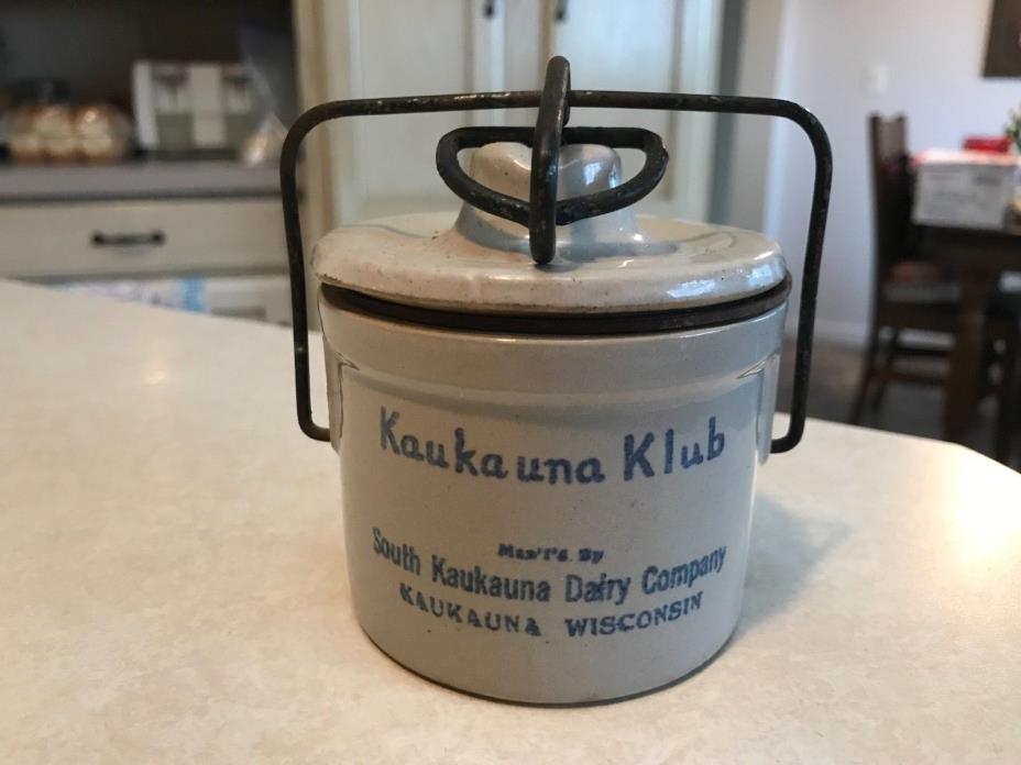 Vintage Kaukauna Klub Wisconsin Cheese Stoneware Crock w/Lid & Wire Bale Closure