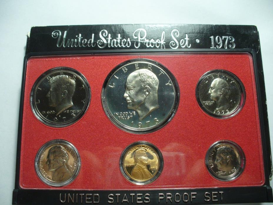 1973- S Proof Set Original Box 6 Coins Type 1 Eisenhower Ike Dollar US Mint