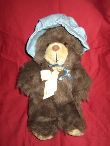PBC Brown teddy Bear wearing a Blue Bonnet soft plush stuffed Animal Toy 13