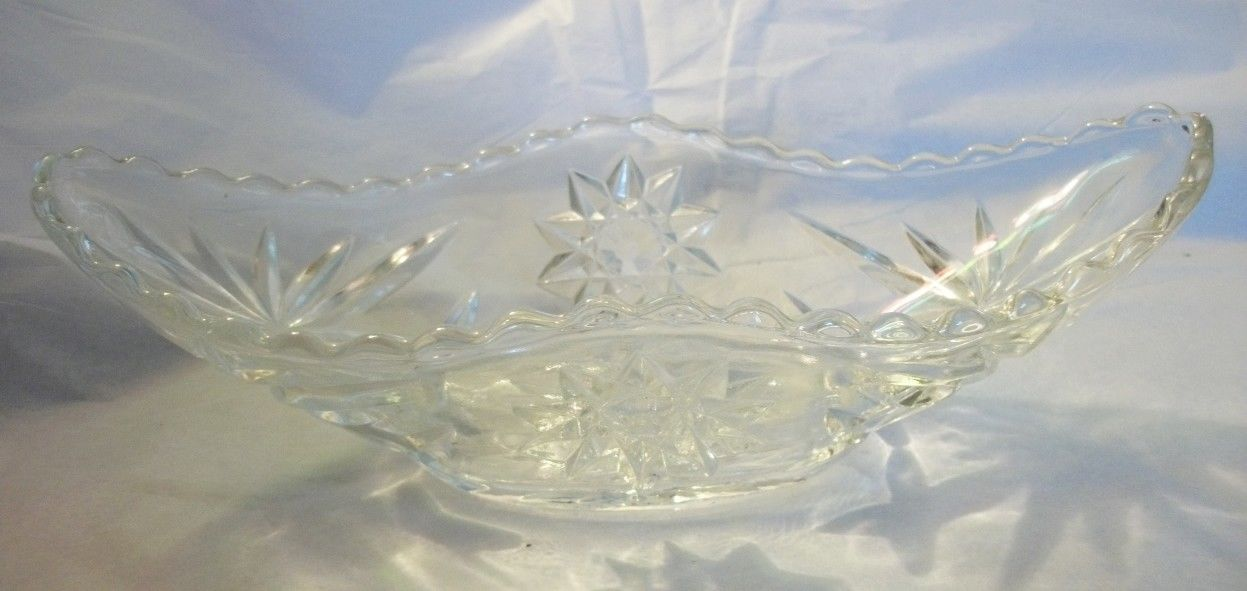 star of david clear glass oval bowl 9.5
