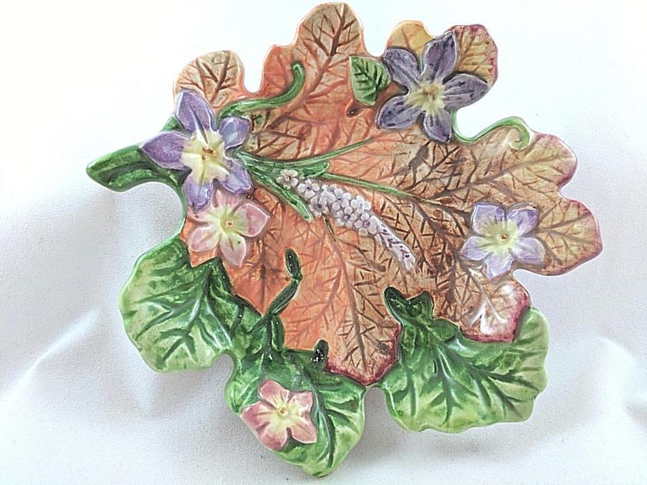 Fitz & Floyd Thanksgiving Leaf Tray Candy Dish Fall Decor