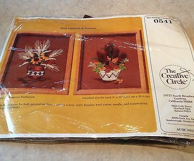 The Creative Circle Wool Crewel/Wmbroidery Kit  Cattails & Daisies #0541 - NIP