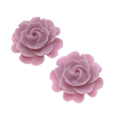 Lucite Flower Cabochons Rose 'Matte Lt Purple' 23mm (2)