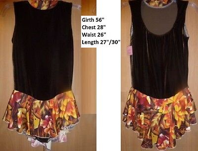 EUC Ice Figure Skating Dress Brown bodice Orange floral skirt Size Adult M