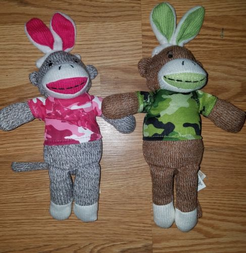 Camo Sock Monkey Bunny Ears Green Pink Stuffed Animal Plush Set of 2